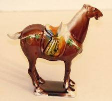 VINTAGE CHINESE ASIAN TANG SANCAI BROWN PORCELAIN SADDLE HORSE FIGURINE SIGNED
