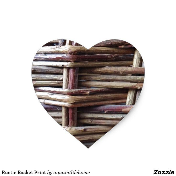 Rustic Basket Print Heart Sticker