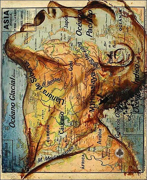 """All Over the Map.  Spanish artist Fernando Vicente painted on map sheets to compose this elegant series entitled """"Atlas."""""""