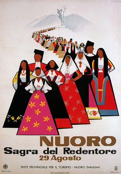 TW16 Vintage 1950's Italy Nuoro Sardinia Italian Travel Poster Re-print A1/A2/A3
