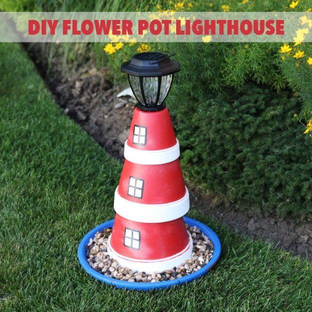 DIY Nautical Flower Pot Lighthouse