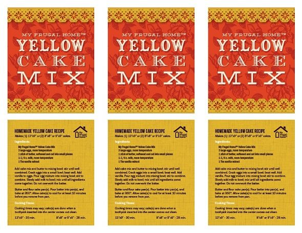 Printable Labels for Yellow Cake Mix