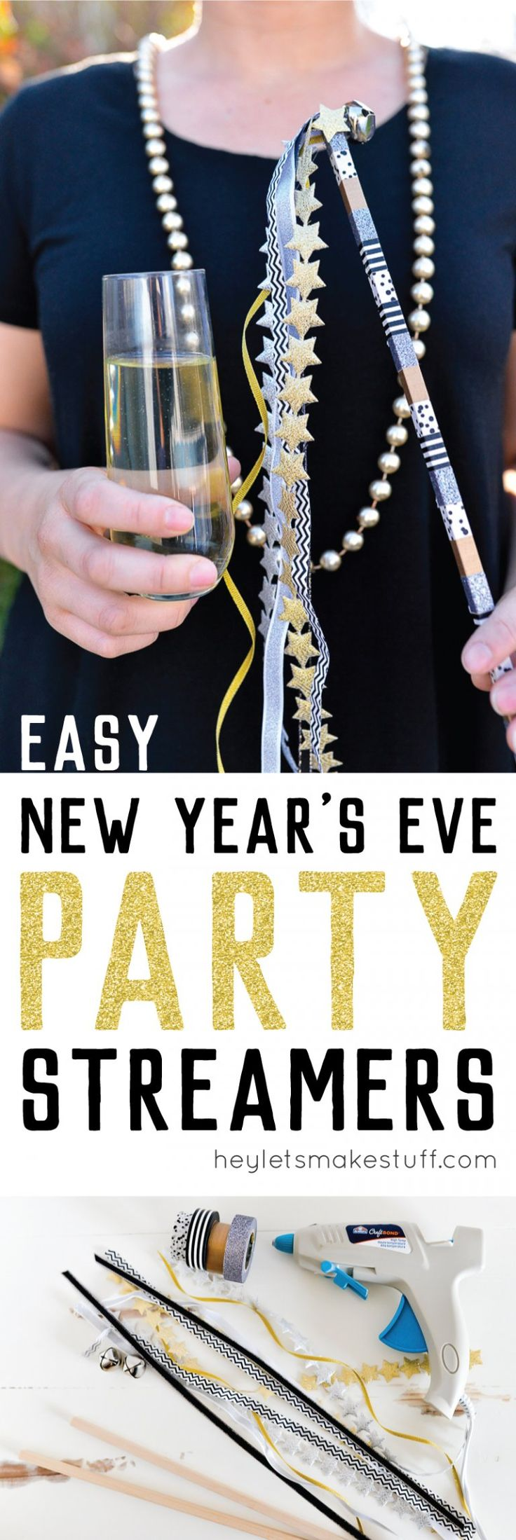 If you're throwing a New Year's Eve party, make these fun streamers to wave at midnight! I added a little bell to help you ring in the new year in style. AD