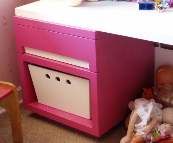 Mueble base y apoyo para guardado de juguetes.  Cajonera con riel telescopico