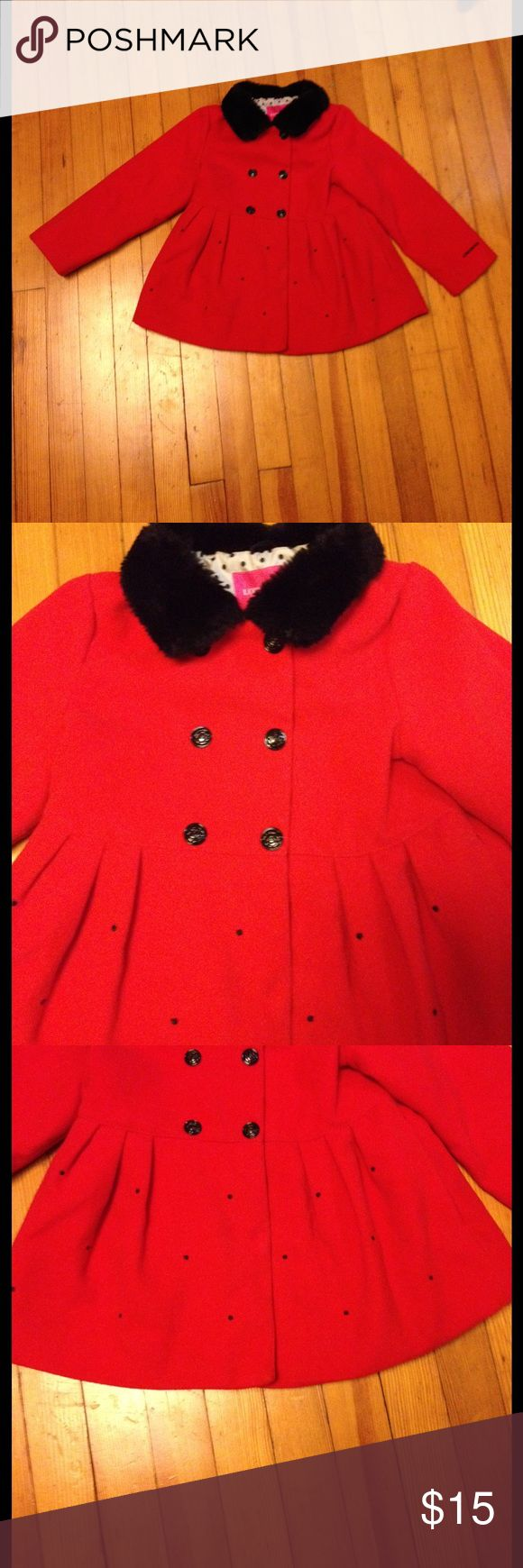 London Fog girl's coat London Fog girl's coat. Red with black faux fur collar and embroidered dots on front and back sweep.  EUC. Shell:  88% Polyester 10% Rayon 2% spandex.  Lining 100% Polyester. Size 6x London Fog Jackets & Coats