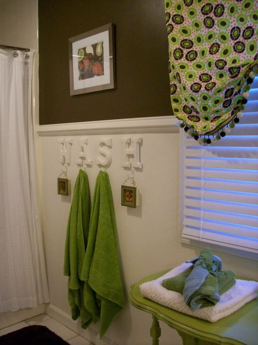 My kid's gender neutral bathroom!, This is my kid's bathroom. I wanted to make it fun but gender neutral since I have two girls and a boy. I painted everything and made the curtain and prints with their hands (my favorite keepsake!) The chocolate brown color is Sable by Sherwin Williams., Bathrooms Design