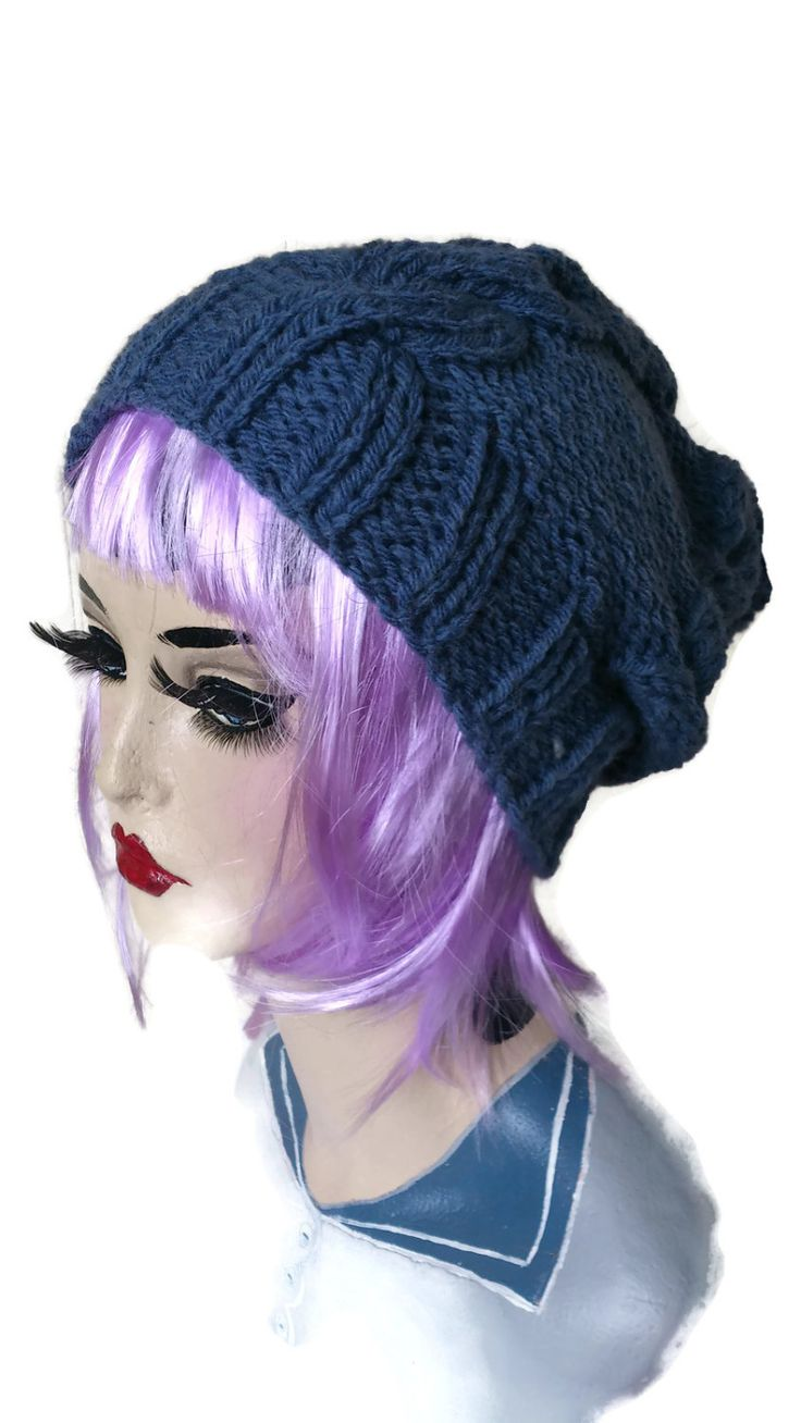 Chunky Hat Hand Knitted Cable Retro Ski Bobble Pompom Slouchy Beanie Rockabilly Blue by thekittensmittensuk on Etsy