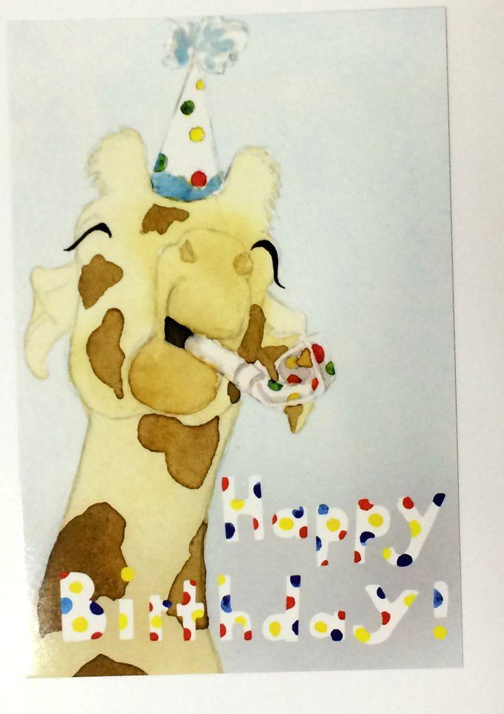 Pack of 10 Cute Giraffe Baby Birthday Postcards, Ten baby's birthday card, happy Zoo Animal birthday card, polka dot animal birthday cards - pinned by pin4etsy.com