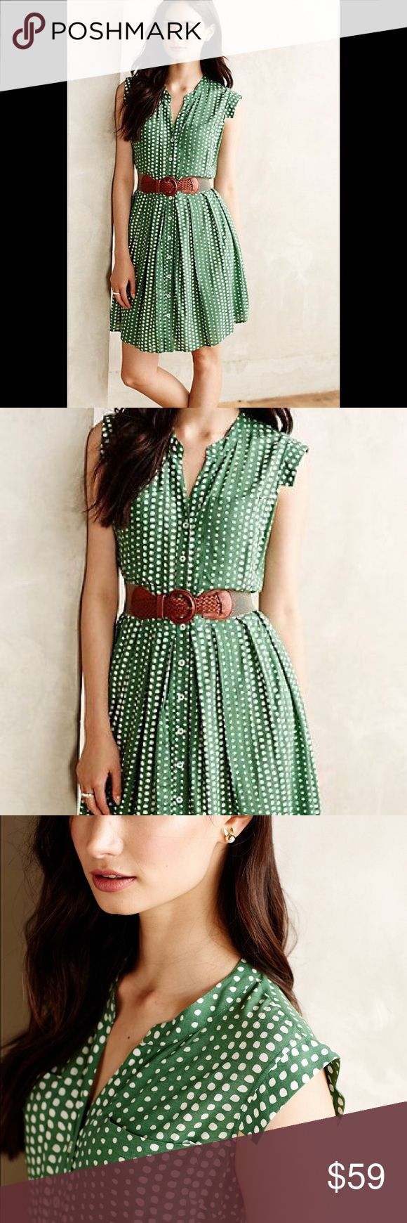 Anthropologie TLO polka dot green shirt dress XSP all time favorite  Please check the gold links belt in my closet (anthropologie). Price is firm Anthropologie Dresses