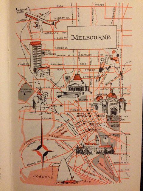 Melbourne Map Decor / City of Melbourne Australia / Vintage Map Print / 1970 Retro City Map Art / Old Map Illustration / World Travel Decor by HildaLea on Etsy