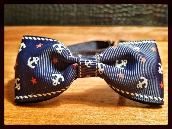 Blue Sailor Bow Tie for Cats and Dogs by NobbyPets on Etsy