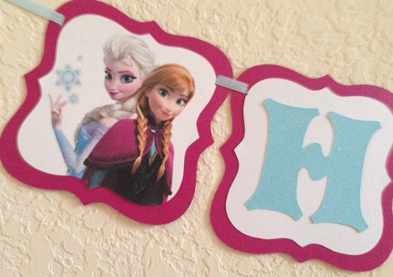 Frozen Birthday banner frozen happy birthday banner by NiuDesigns, $24.00. Also check out my shop for cute party favors www.partiesandfun.etsy.com