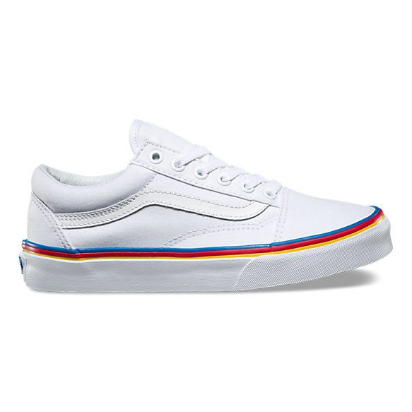 The Rainbow Foxing Old Skool, the Vans classic skate shoe and first to bare the iconic sidestripe, is a low top lace-up featuring sturdy canvas uppers, re-enforced toecaps to withstand repeated wear, padded collars for support and flexibility, and signature rubber waffle outsoles.