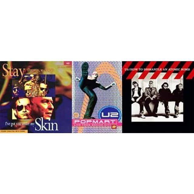 Em 22 de novembro, o #U2 lançou o single de Stay (Faraway, So Close!) (93), o VHS da PopMart: Live from Mexico City (98) e o álbum How To Dismantle An Atomic Bomb (2004). #U2 #Bono #TheEdge #AdamClayton #LarryMullenJr #StayFarawaySoClose #Zooropa #PopMartTour #HowToDismantleAnAtomicBomb