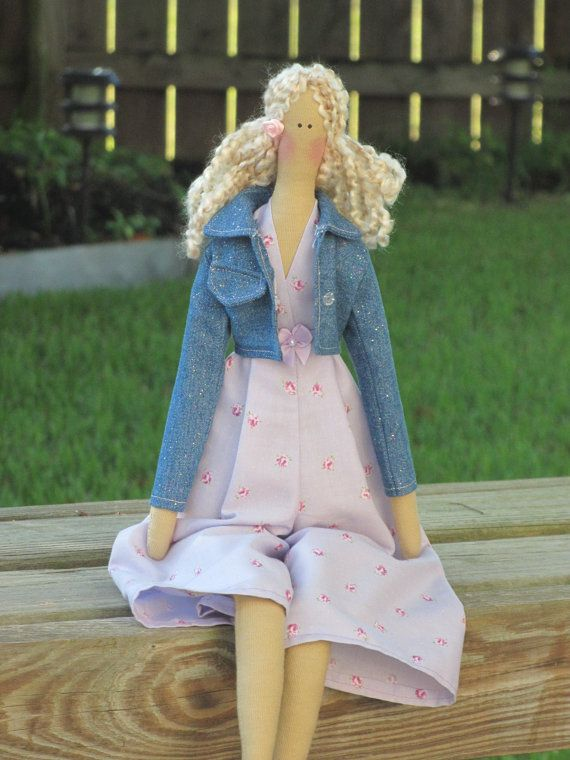 Fabric doll - cloth doll in shiny jeans jacket -child friendly doll,soft doll- stuffed art doll blonde pale lilac pink .Gift for girl via Etsy