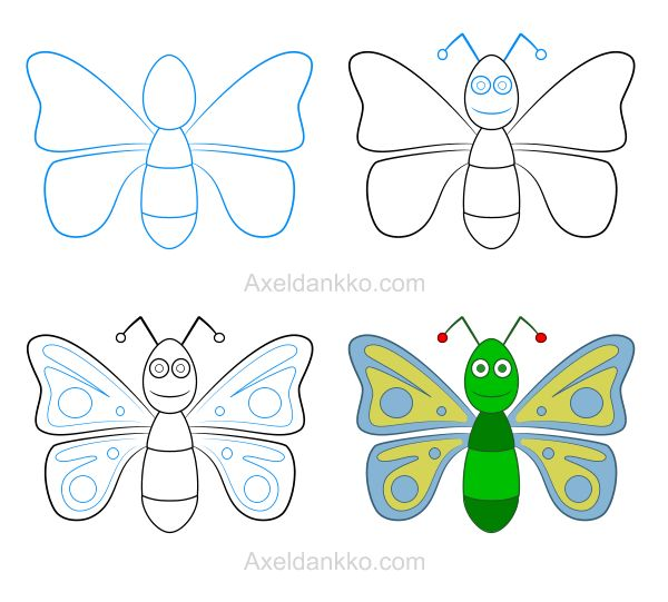 How to draw a butterfly - Comment dessiner un papillon