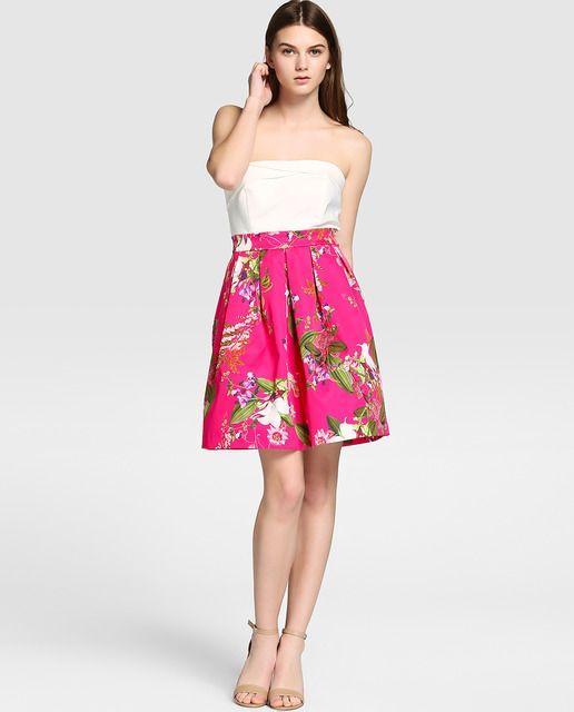 Vestido combinado de mujer Formula Joven con estampado de flores