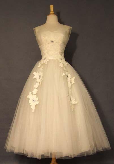 1950s WEDDING GOWN  | EXQUISITE Cahill Tea Length 1950s Wedding Dress VINTAGEOUS VINTAGE ...