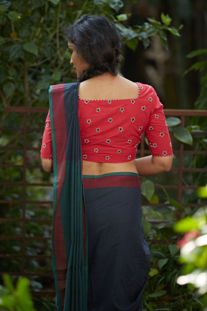 Dull red blouse with cord embroidery and checks piping   THE KAITHARI PROJECT   Handwoven, designed and tailored in Kerala   Pure cotton   Sleeve length : XS...