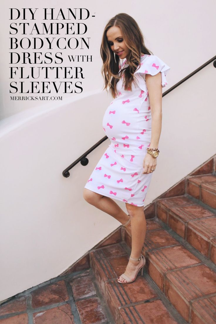 DIY FRIDAY: STAMPED BODYCON VALENTINE'S DAY DRESS WITH FLUTTER SLEEVES