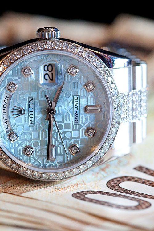 Platinum & Diamond Rolex Dial Day-Date Watch