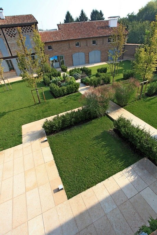 Here is an example of a garden that was designed modularly - it is comprised of different sized grassy rectangle units.