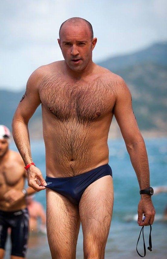 sexy older men hairy chest Speedo wet  Bears Dads