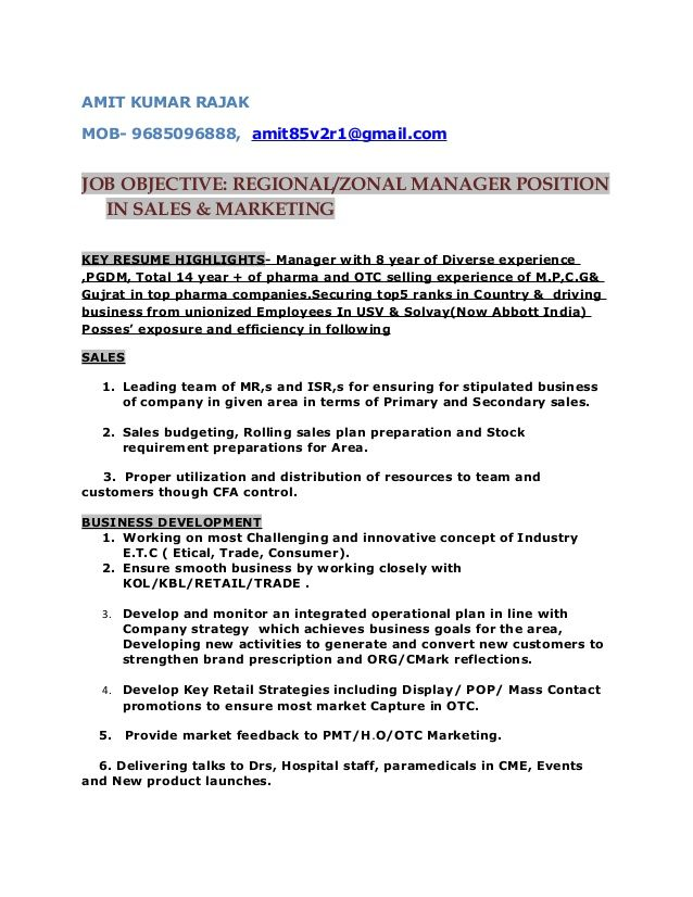 sample resume for zonal sales manager  best resume examples