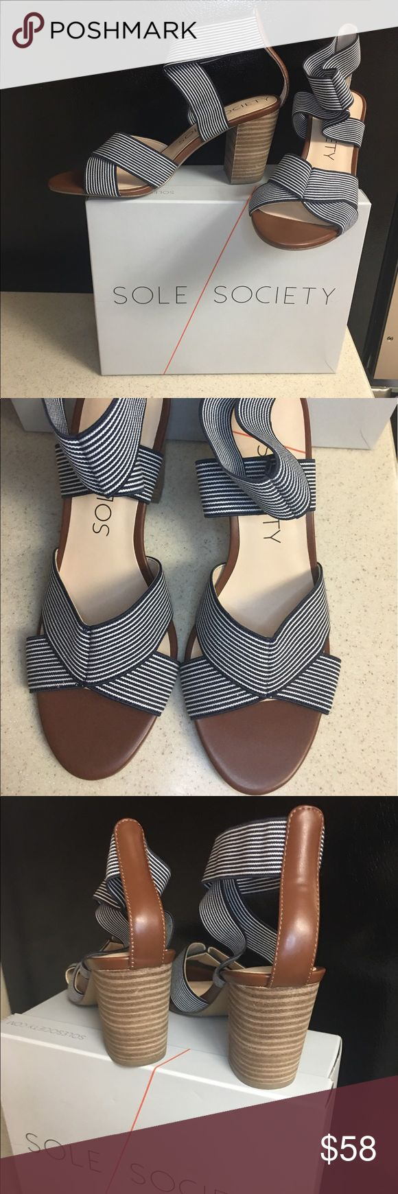 "Sole Society So-Josey sandals NWOT Beautiful brand new in box sandals!! Navy and white stretchy straps, whiskey colored leather and 3"" stacked wood heel. Dang ... didn't get them retuned on time!! These have a very classic and nautical vibe. Sole Society Shoes Slippers"