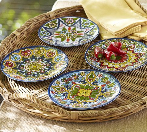 Talavera Melamine Salad Plates, Set Of 4 | Pottery Barn   So Colorful, And