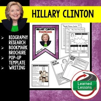 Hillary Clinton Biography Research, Bookmark Brochure, Pop-Up, Writing (Women's History) This activity provides for a variety of differentiated activities to engage your secondary students in biography research.  Student will have the opportunity to choose between a biography entry, a biography bookmark brochure, or a biography pop-up for interactive notebook.
