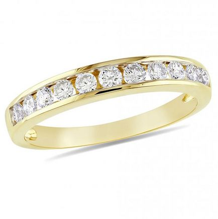 DiamoreTM 1/2 CT Diamond Semi-Eternity Ring in 14k Yellow Gold