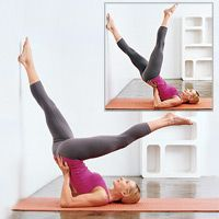 Love Your Lower Body! Main Move: Wall Scissor: (tones butt, backs of thighs)  From Toe Reaches start position, bend knees to plant feet on wall. Peel back off floor, keeping shoulder blades down, and step feet up wall so body forms a diagonal line from feet to chest. Bend elbows and support lower back with hands; keep shoulder blades, upper arms, and head on floor. Lower left leg toward head as far as you can, keeping both legs straight and abs tight. Return to wall and lower right leg…
