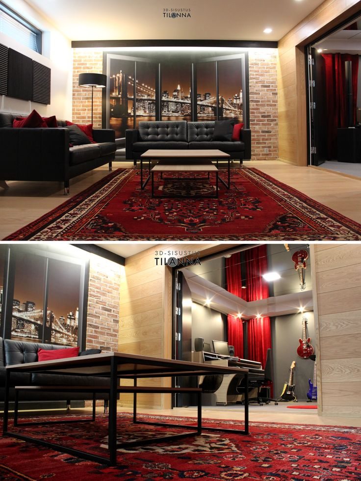 """Kellari, kokonaisvaltainen sisustus- ja valaistussuunnitelma, """"miesluola"""". Käsintaottu punainen tiili, valokuvatapetti, boconcept lugo-pöydät, mustat nahkaiset sohvat, itämainen punainen matto, bändihuoneen katossa peili, punaiset samettiverhot, epäsuora valaistus laudan takaa, akustiikkapaneelit, furninovan time jalkavalaisin/ 3D-sisustus Tilanna"""