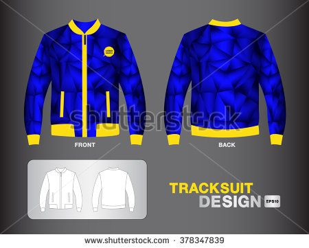 Blue tracksuit design vector illustration jacket design uniform design polygon background - stock vector