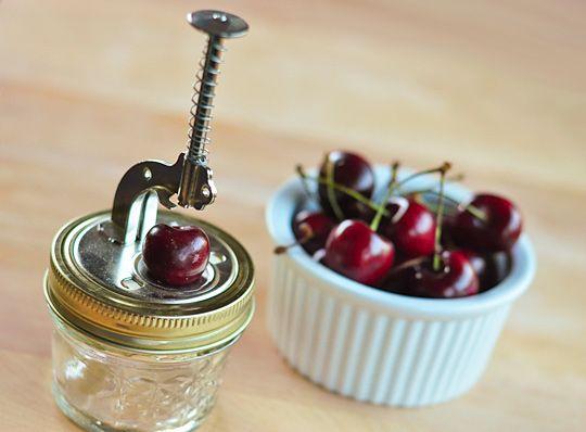 cherry pitter.  Fresh Cherries, Inexpenive Cherries, Canning Jars, Gift Ideas, Mason Jars Kitchens, Smart Design, Cherries Pitter, Kitchens Gadgets, Kitchens Tools