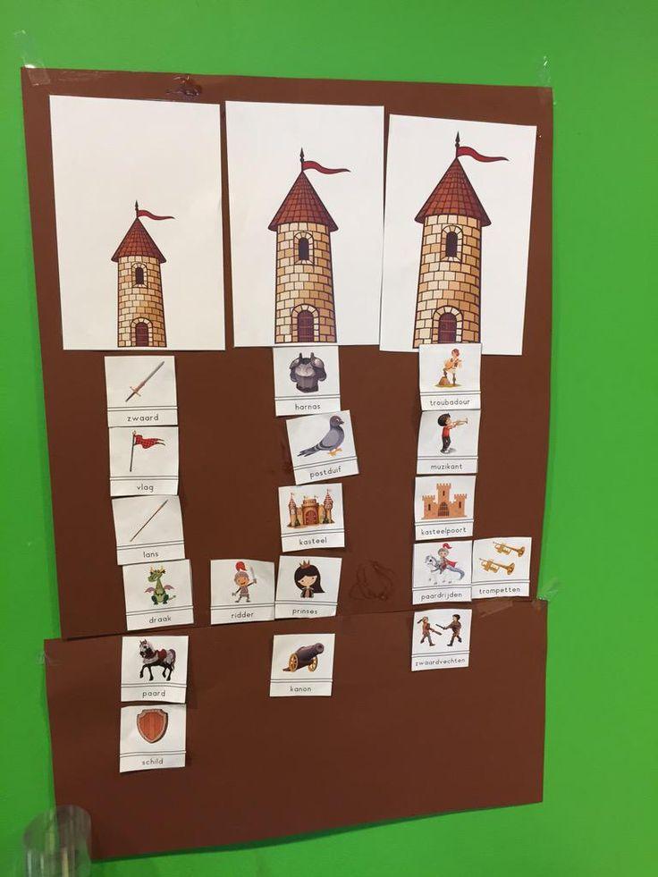 Welk woord hoort bij welke toren? Woordstukjes