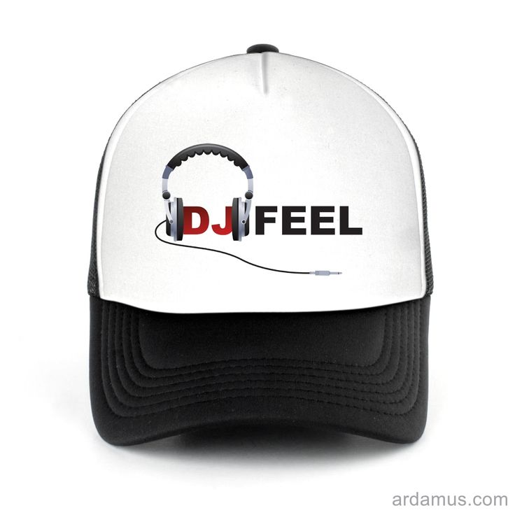 Dj Feel Logo Trucker Hat for men or women. Available color black, red, pink, green. Shop more at ARDAMUS.COM #djtruckerhat #djcap #djsnapback #djhat