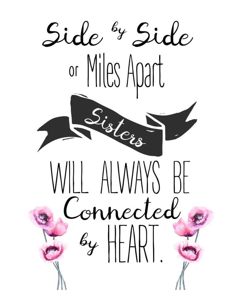 Side by side or miles apart sisters will always be connected by heart, butterflies, wall art by BeautyinARTdesigns on Etsy