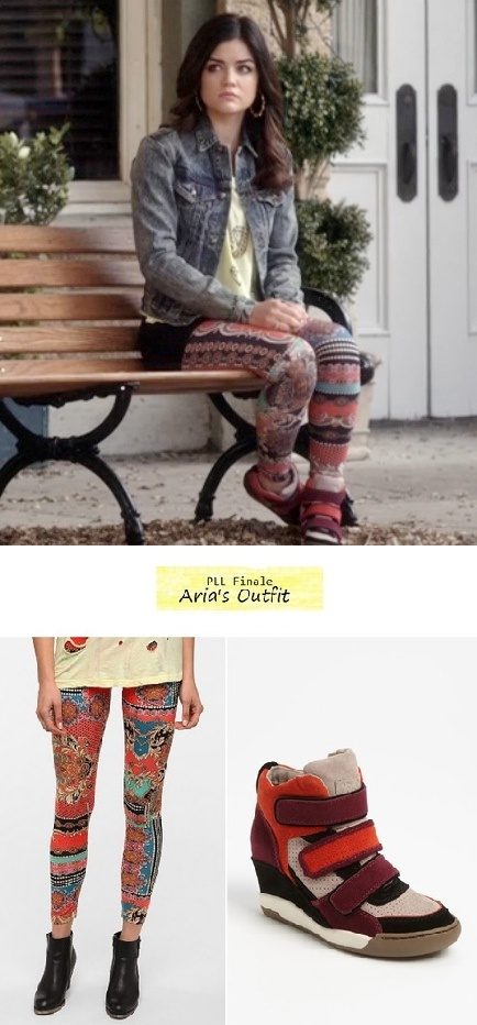 Pretty Little Liars 324: Aria's (Lucy Hale) colorblock wedge sneakers & printed leggings | Details on the blog: popdetour.tumblr.com #PLL #tvfashion #style #outfits #fashion