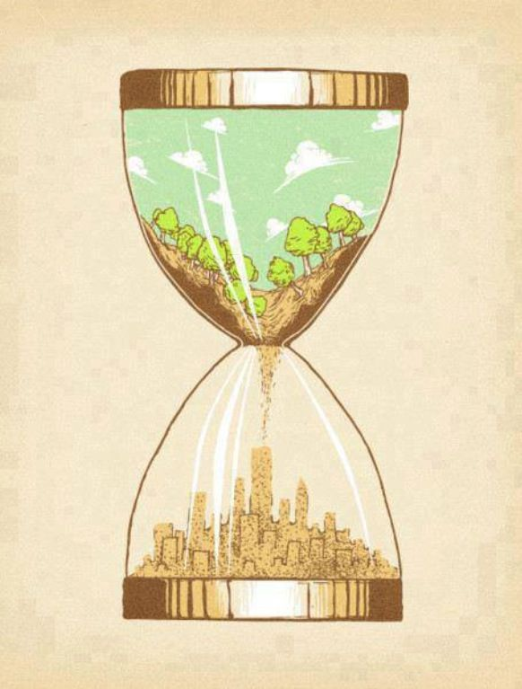 This is a hourglass. The feature of hourglass is the top part fall to lower part. In this poster, The tress are falling to become skyscraper which mean by damaging the nature to build the city.