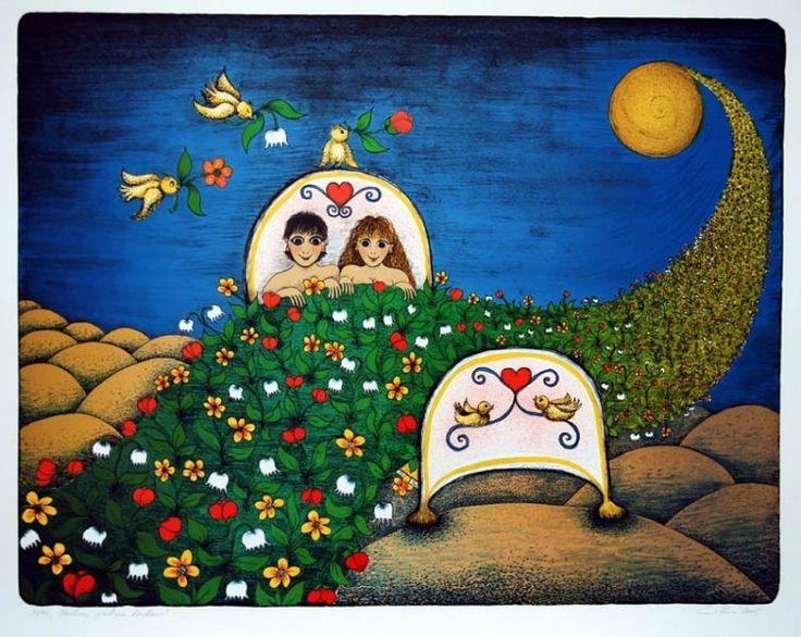 Milenci přikrytí loukou http://www.galeriepodradnici.cz/dilo/Srncova_Ema/178.jpg