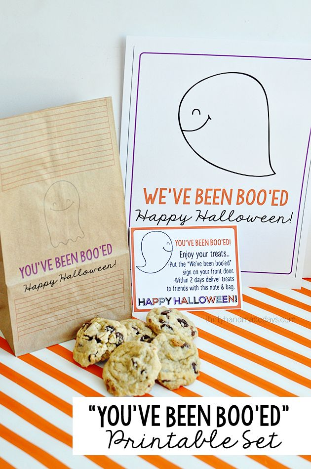 """You've been boo'ed"" Halloween Printable Set - includes lunch bag, sign and card."