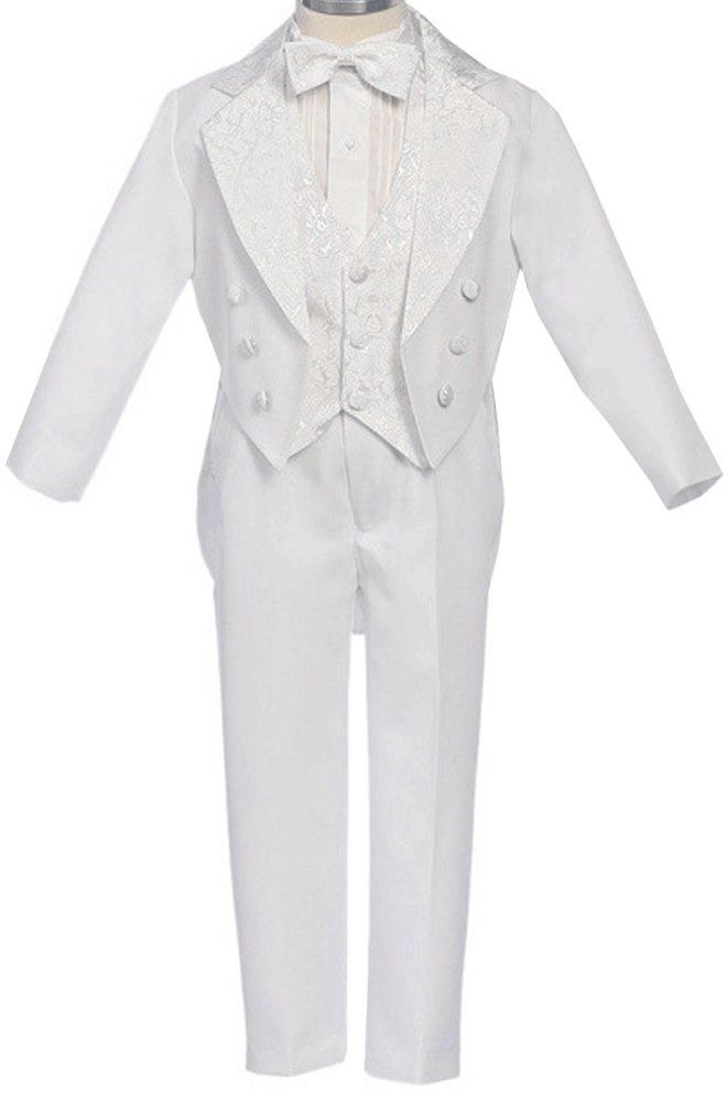 AMJ Dresses Inc Little Boys White Wedding Tuxedo W/tail Size 6. The tuxedo is consisted of 5 pieces: jacket, vest, shirt, bowtie and pants. The white tuxedo jacket with the jacquard lapel in white satin with matching pocket front, four buttons, and jacket with tails. The matching white long sleeve front tucked the shirt with white textured satin bow tie, the vest with a jacquard patterned lined front with a wide elastic band across the back making it totally adjustable for a comfortable…