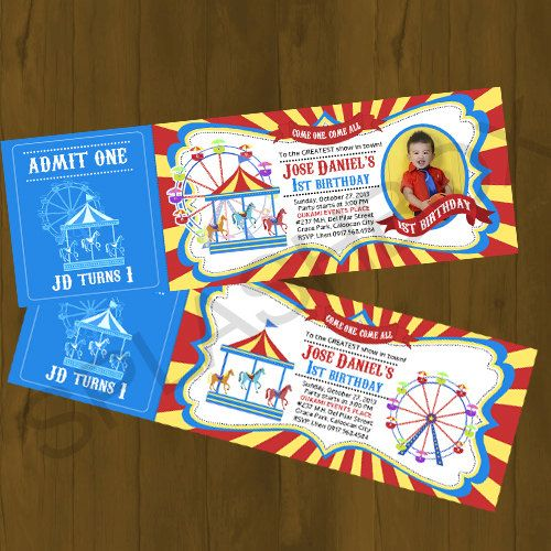 Carnival Ticket Invitation Amusement Park by SplashboxPrintables, $10.00