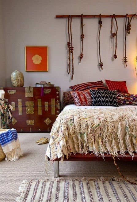 Check out this gorgeous textured Moroccan wedding blanket on the bed. I sell these in Red Thread Souk: www.redthreadsouk.com