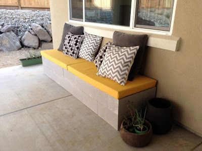"""Nifty and cheap cinder block bench. nashbabe says, """" the biggest expense would be the foam...try a coupon from JoAnn or maybe some upholstery shop would sell some"""""""