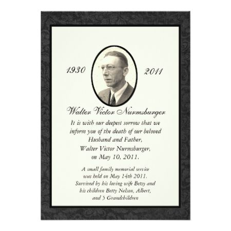 Traditional Death Announcement Card - tap to personalize and get yours
