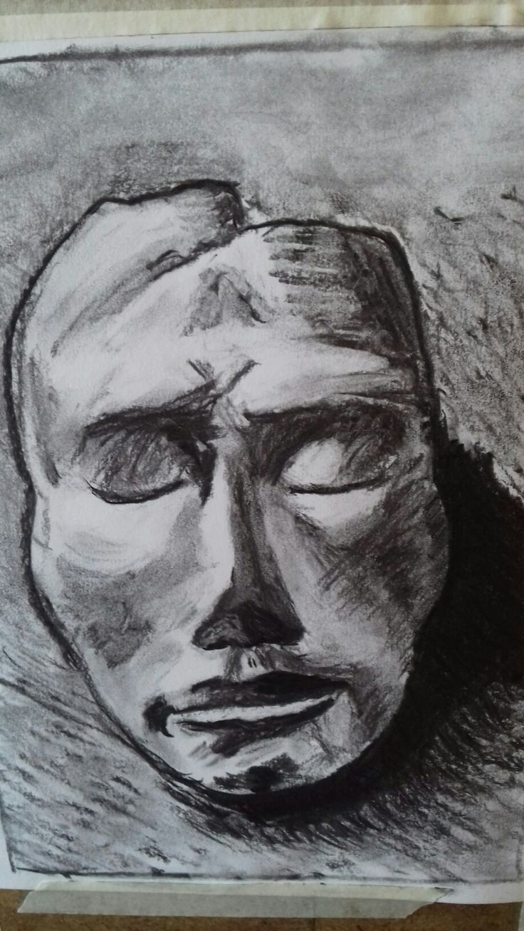 Clay mask - drawing in charcoal