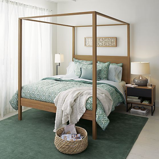 Osborn 4 poster queen bed crate and barrel bedrooms pinterest ikat bedding jade and - Bedspreads for four poster beds ...